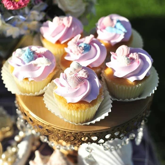 Under the Sea Cupcakes from a Mermaid Birthday Party on Kara's Party Ideas | KarasPartyIdeas.com (13)