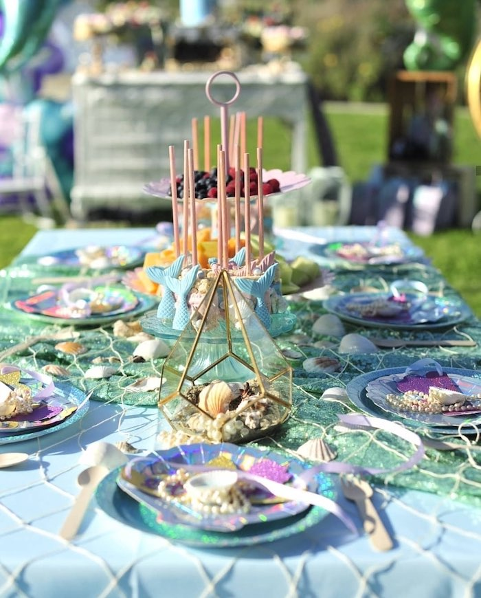 Under the Sea Guest Table from a Mermaid Birthday Party on Kara's Party Ideas | KarasPartyIdeas.com (7)