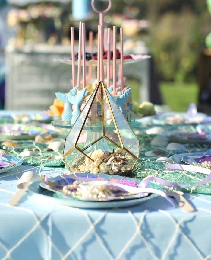 Under the Sea Terrarium + Table Setting from a Mermaid Birthday Party on Kara's Party Ideas | KarasPartyIdeas.com (6)