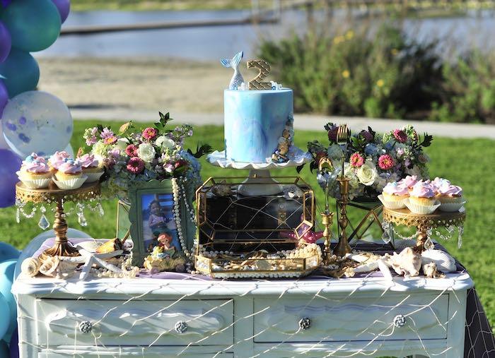 Under the Sea Mermaid-inspired Cake Table from a Mermaid Birthday Party on Kara's Party Ideas | KarasPartyIdeas.com (22)