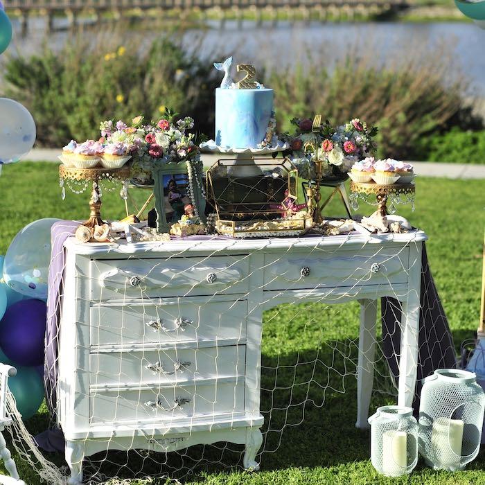 Under the Sea Mermaid-inspired Cake Table from a Mermaid Birthday Party on Kara's Party Ideas | KarasPartyIdeas.com (21)