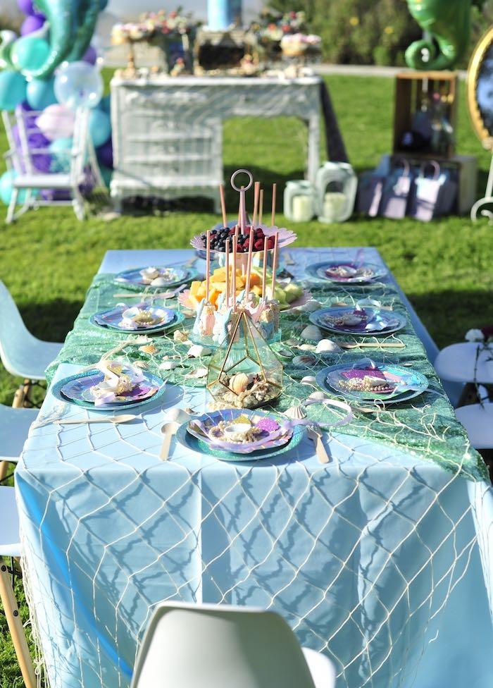 Mermaid-inspired Party Table from a Mermaid Birthday Party on Kara's Party Ideas | KarasPartyIdeas.com (20)