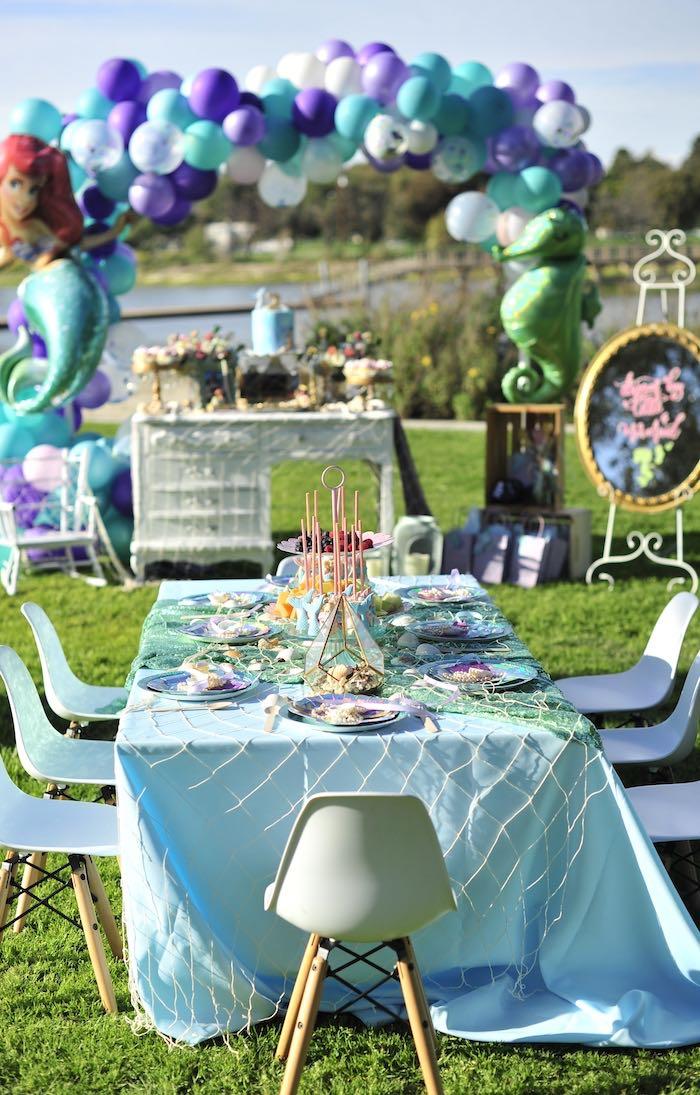 Mermaid Party Table from a Mermaid Birthday Party on Kara's Party Ideas | KarasPartyIdeas.com (19)