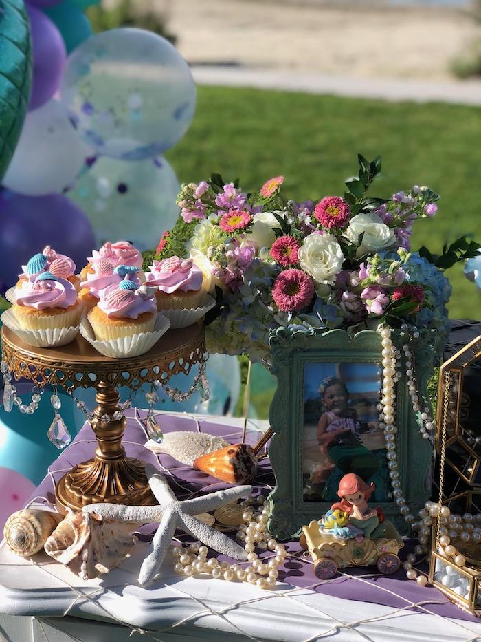 Mermaid Cake Table Detail from a Mermaid Birthday Party on Kara's Party Ideas | KarasPartyIdeas.com (17)