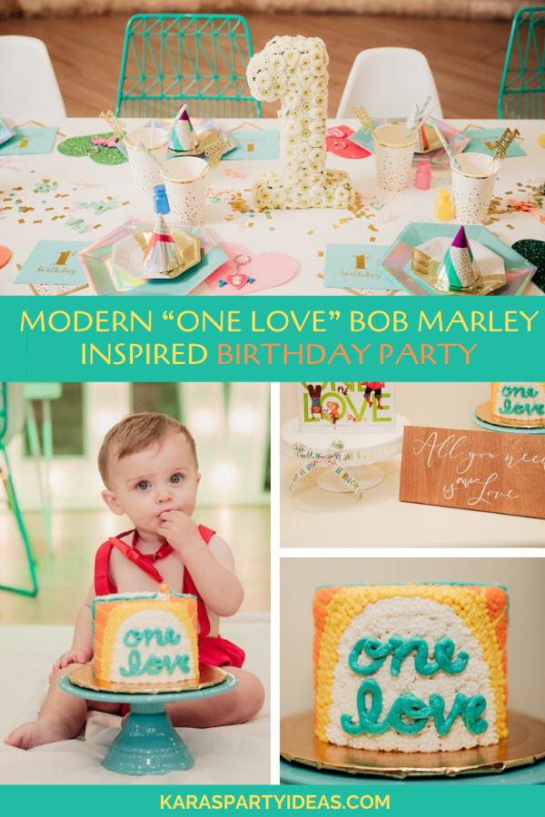 "Modern ""One Love"" Bob Marley Inspired Birthday Party via Kara's Party Ideas - KarasPartyIdeas.com"
