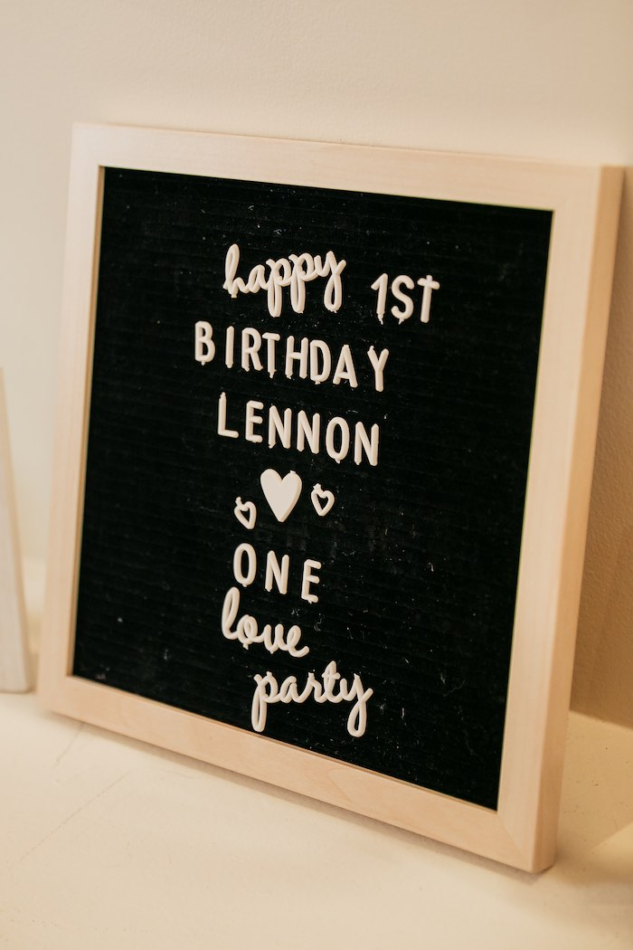 "1st Birthday Letter Board Sign from a Modern ""One Love"" Bob Marley Inspired Birthday Party on Kara's Party Ideas 