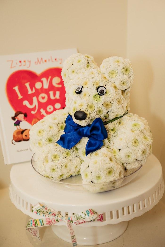 "Flower Teddy Bear from a Modern ""One Love"" Bob Marley Inspired Birthday Party on Kara's Party Ideas | KarasPartyIdeas.com (18)"