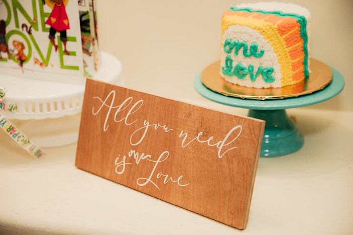 "All you need is Love Wood Sign from a Modern ""One Love"" Bob Marley Inspired Birthday Party on Kara's Party Ideas 