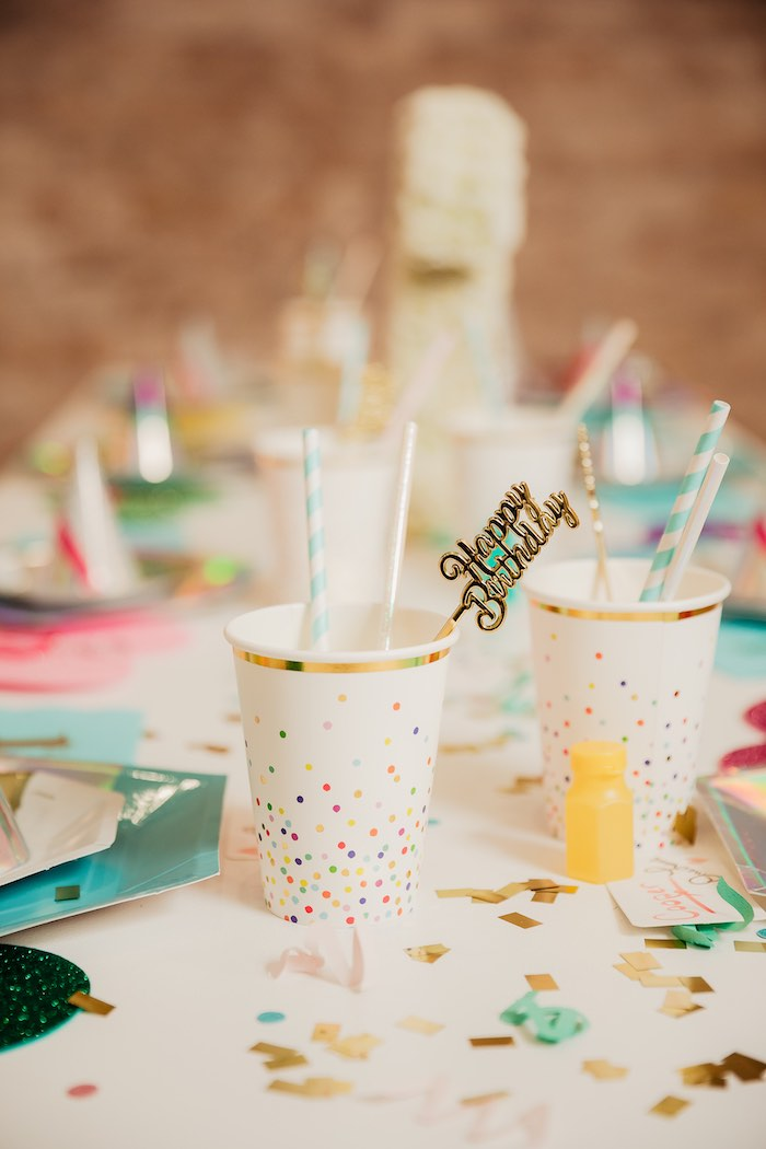 "Confetti Cups from a Modern ""One Love"" Bob Marley Inspired Birthday Party on Kara's Party Ideas 