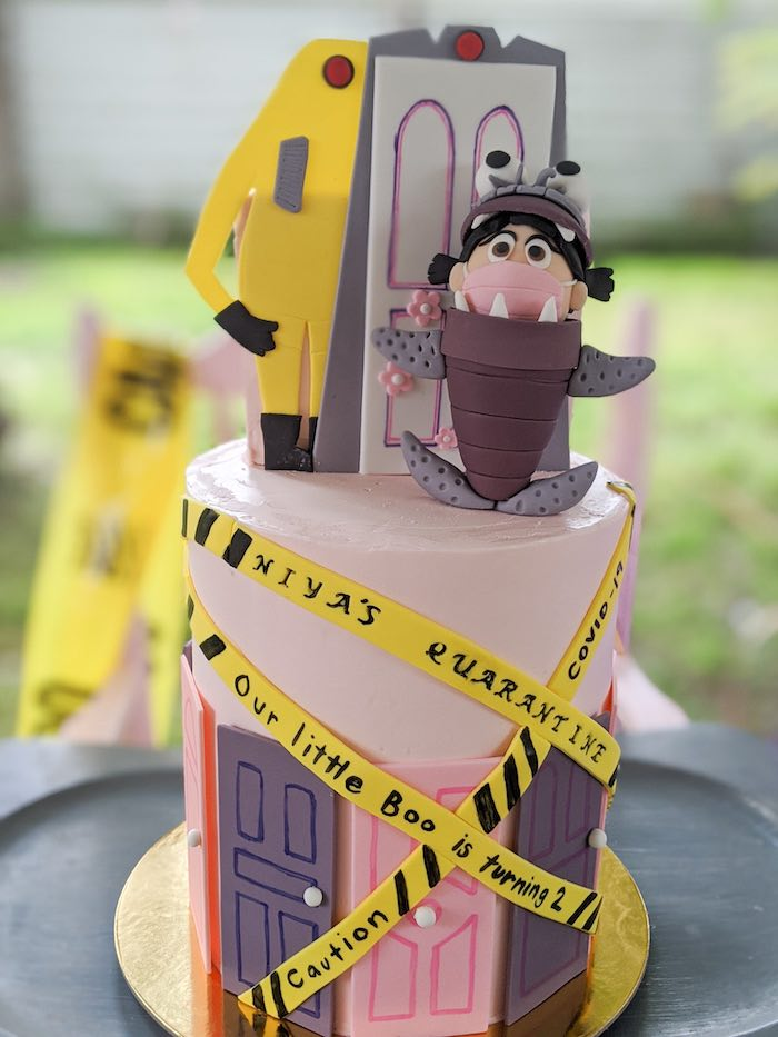 Monster's Inc. Cake from a Monster's Inc. Inspired Quarantine Party on Kara's Party Ideas | KarasPartyIdeas.com (28)