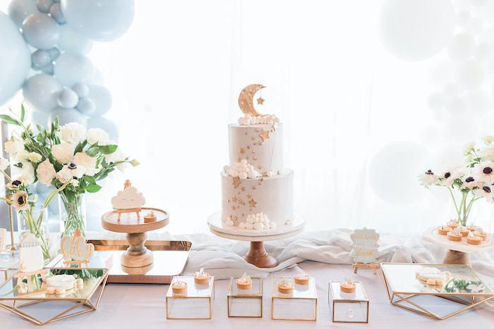 Moon Themed Dessert Table from a Moon and Stars Baby Shower on Kara's Party Ideas | KarasPartyIdeas.com (31)