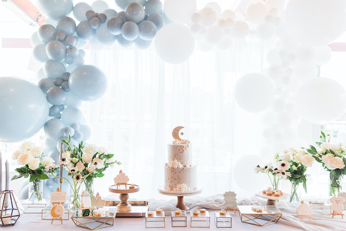 Moon Themed Dessert Table from a Moon and Stars Baby Shower on Kara's Party Ideas | KarasPartyIdeas.com (30)