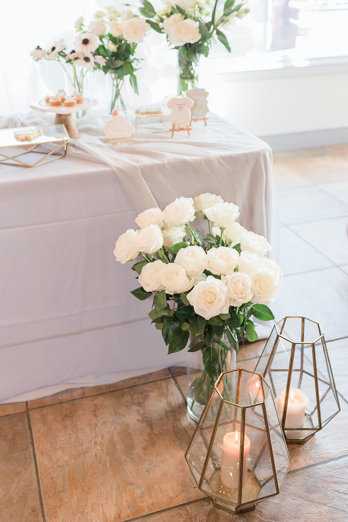 White Roses and Burning Candles from a Moon and Stars Baby Shower on Kara's Party Ideas | KarasPartyIdeas.com (24)