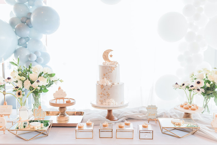 Moon Themed Dessert Table from a Moon and Stars Baby Shower on Kara's Party Ideas | KarasPartyIdeas.com (23)