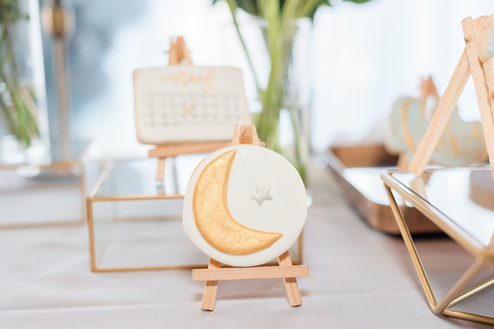 Gold Moon Cookie from a Moon and Stars Baby Shower on Kara's Party Ideas | KarasPartyIdeas.com (49)