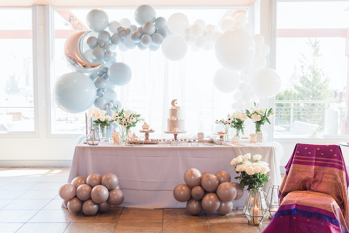 Moon Themed Dessert Table from a Moon and Stars Baby Shower on Kara's Party Ideas | KarasPartyIdeas.com (16)