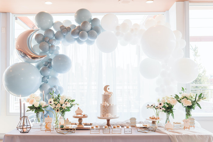 Moon Themed Dessert Table from a Moon and Stars Baby Shower on Kara's Party Ideas | KarasPartyIdeas.com (15)