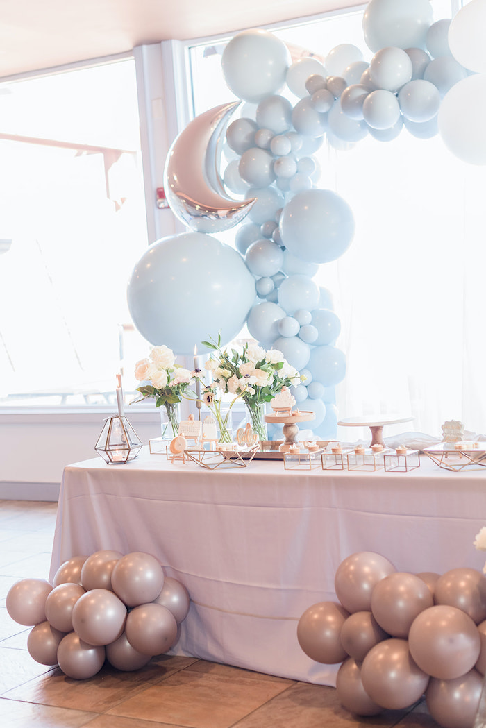 Moon Themed Dessert Table from a Moon and Stars Baby Shower on Kara's Party Ideas | KarasPartyIdeas.com (10)