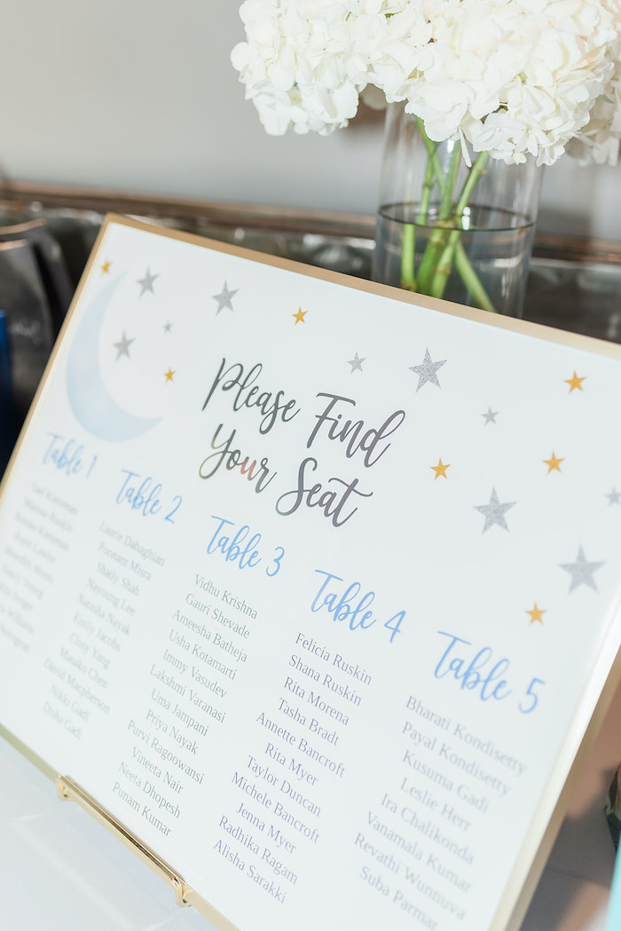 Seating Chart from a Moon and Stars Baby Shower on Kara's Party Ideas | KarasPartyIdeas.com (8)