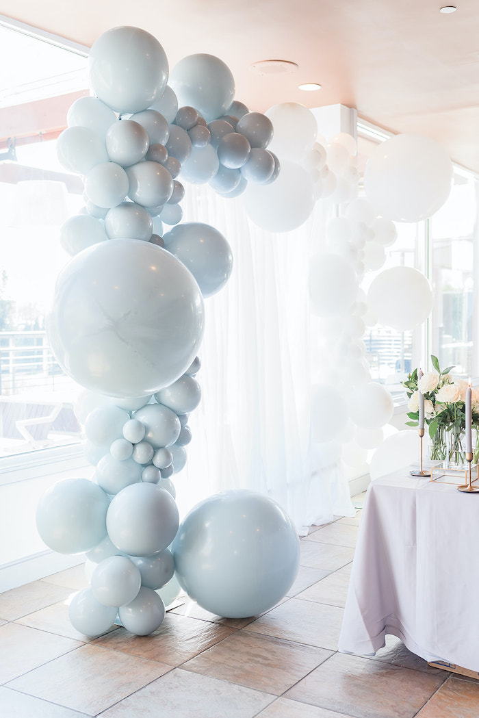Moon-inspired Balloon Arch from a Moon and Stars Baby Shower on Kara's Party Ideas | KarasPartyIdeas.com (44)