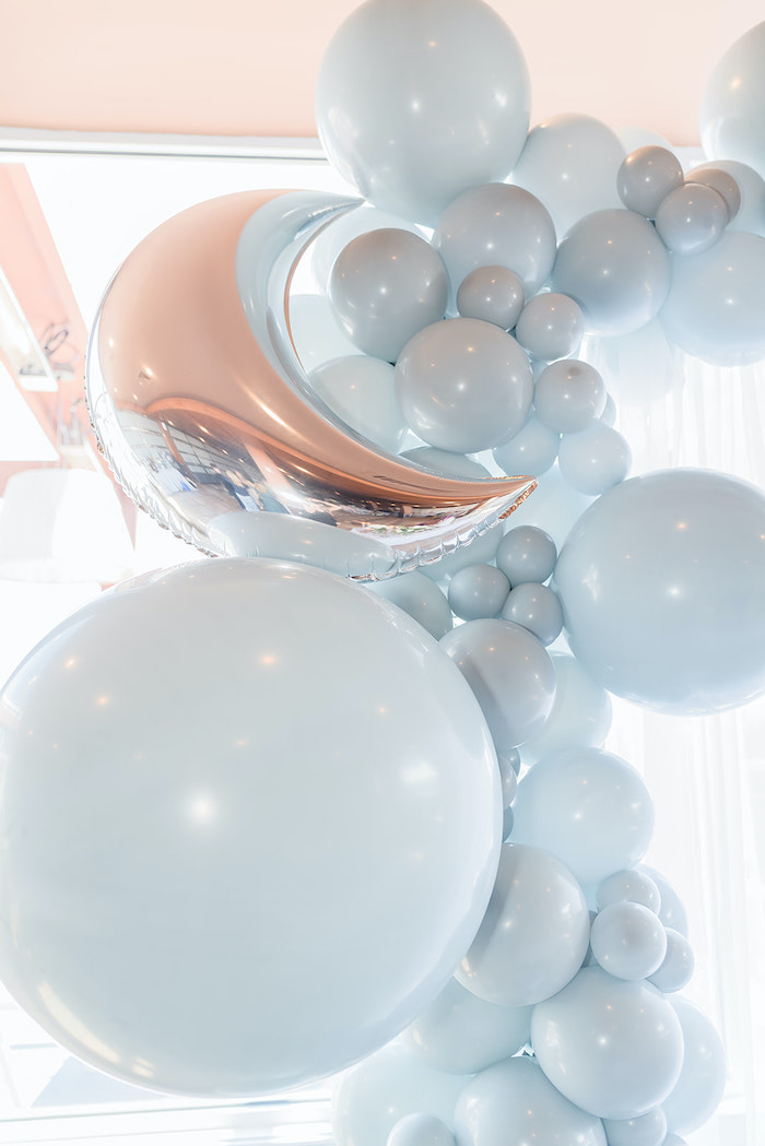 Moon-inspired Balloon Install from a Moon and Stars Baby Shower on Kara's Party Ideas | KarasPartyIdeas.com (43)