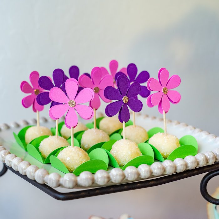 Flower Cake Pops from a My Magical Garden Birthday Party on Kara's Party Ideas | KarasPartyIdeas.com (24)