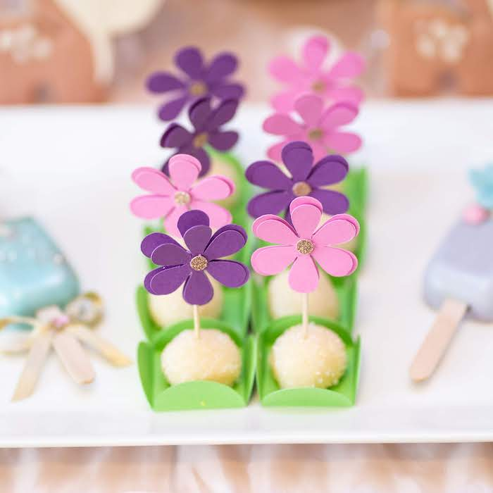 Flower Cake Pops from a My Magical Garden Birthday Party on Kara's Party Ideas | KarasPartyIdeas.com (22)