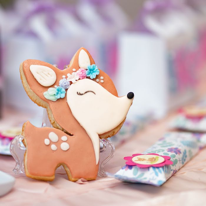 Deer Sugar Cookie from a My Magical Garden Birthday Party on Kara's Party Ideas | KarasPartyIdeas.com (21)