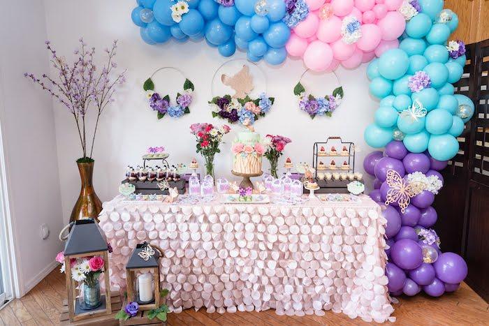 Garden Themed Dessert Table from a My Magical Garden Birthday Party on Kara's Party Ideas | KarasPartyIdeas.com (14)