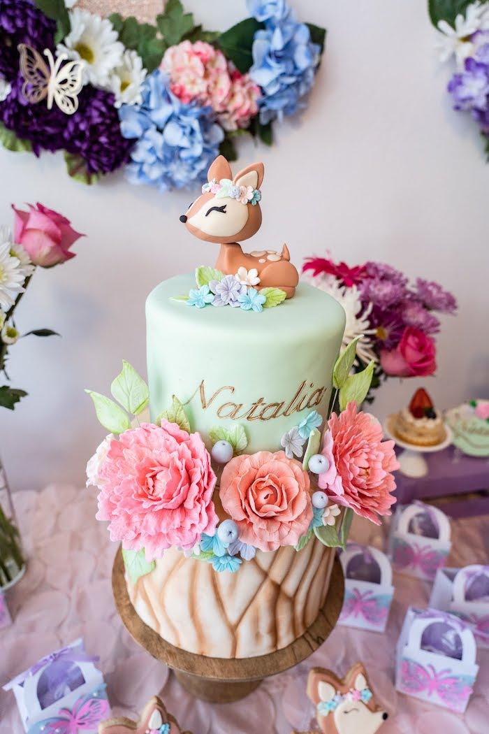 Woodland Garden Cake from a My Magical Garden Birthday Party on Kara's Party Ideas | KarasPartyIdeas.com (10)