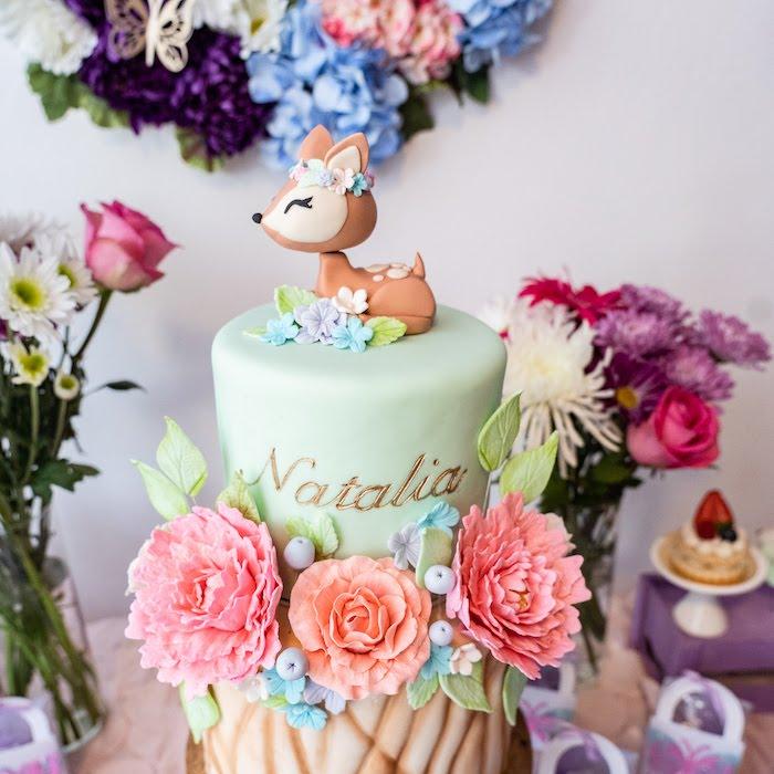 Woodland Garden Cake from a My Magical Garden Birthday Party on Kara's Party Ideas | KarasPartyIdeas.com (9)