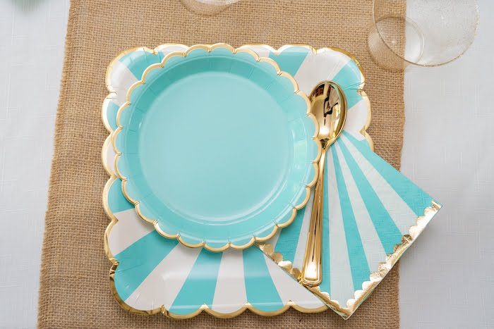 Pastel Blue + Gold Table Setting from a My Magical Garden Birthday Party on Kara's Party Ideas | KarasPartyIdeas.com (32)