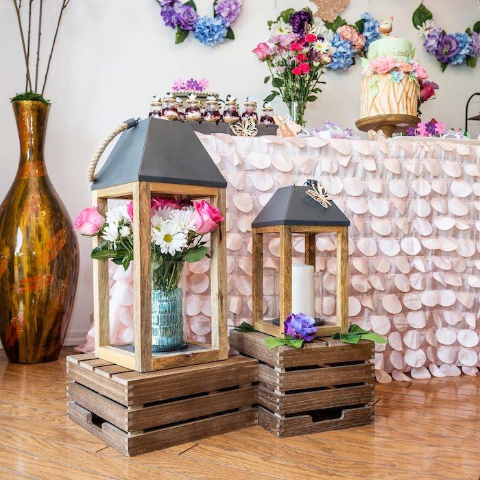 Wood Garden Lanterns from a My Magical Garden Birthday Party on Kara's Party Ideas | KarasPartyIdeas.com (28)
