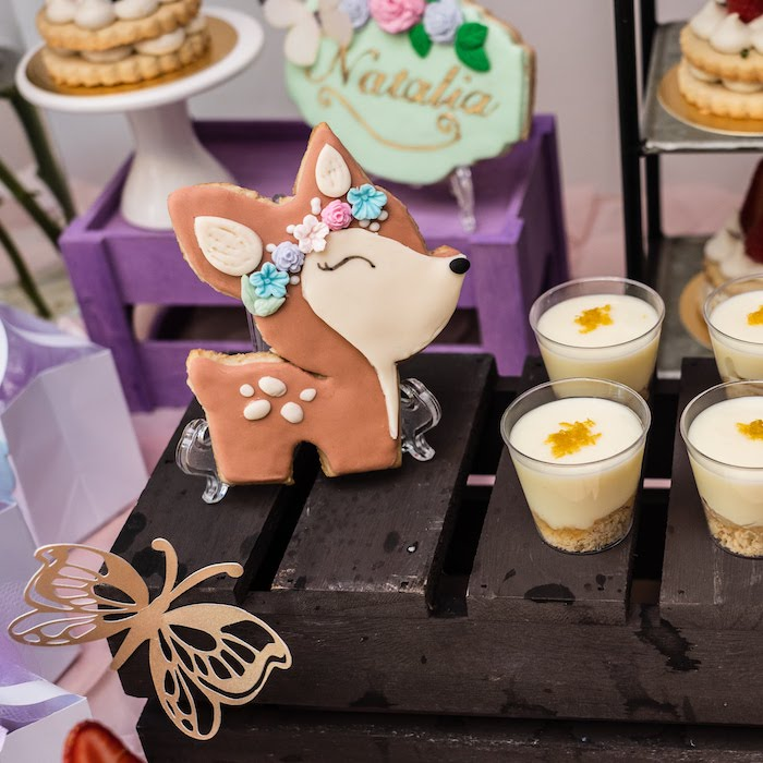 Deer (Cookie) & Dessert Cups from a My Magical Garden Birthday Party on Kara's Party Ideas | KarasPartyIdeas.com (27)