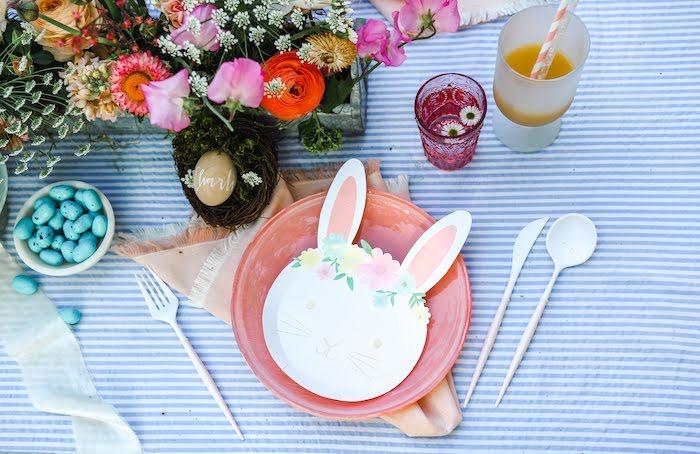 Bunny Table Setting from an Outdoor Easter Picnic on Kara's Party Ideas | KarasPartyIdeas.com (24)