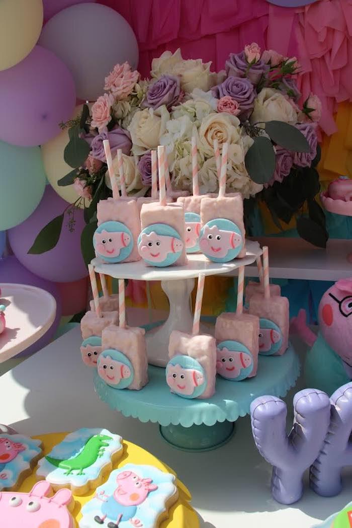 Peppa Pig Rice Krispie Treat Pops from a Peppa Pig Birthday Party on Kara's Party Ideas | KarasPartyIdeas.com (3)