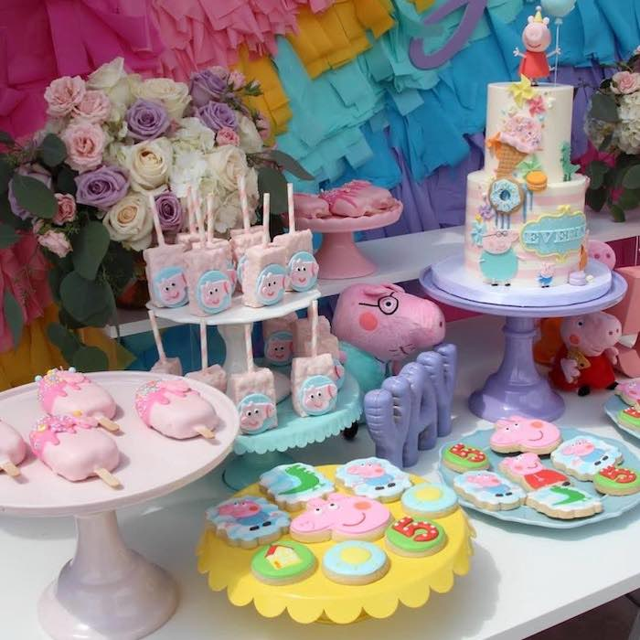 Peppa Pig Themed Dessert Table from a Peppa Pig Birthday Party on Kara's Party Ideas | KarasPartyIdeas.com (13)