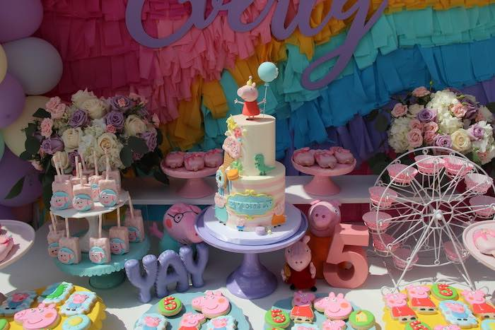 Peppa Pig Cake + Cake Table from a Peppa Pig Birthday Party on Kara's Party Ideas | KarasPartyIdeas.com (10)
