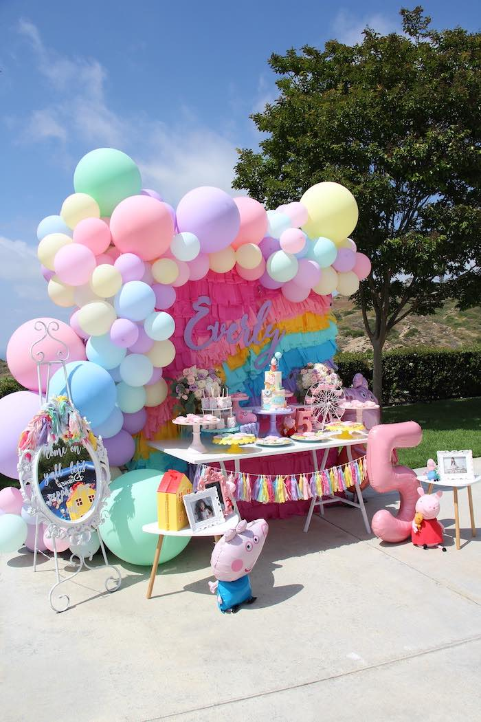 Pastel Rainbow Peppa Pig Themed Dessert Table from a Peppa Pig Birthday Party on Kara's Party Ideas | KarasPartyIdeas.com (9)