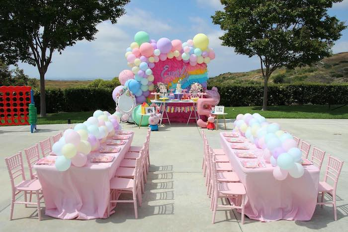Peppa Pig Themed Party Tables from a Peppa Pig Birthday Party on Kara's Party Ideas | KarasPartyIdeas.com (8)