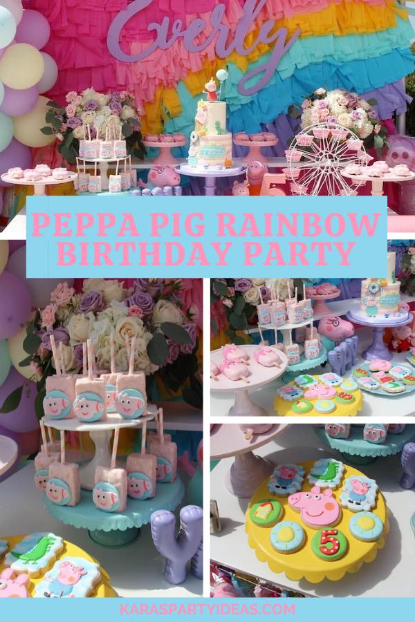 Peppa Pig Rainbow Birthday Party via Kara's Party Ideas - KarasPartyIdeas.com