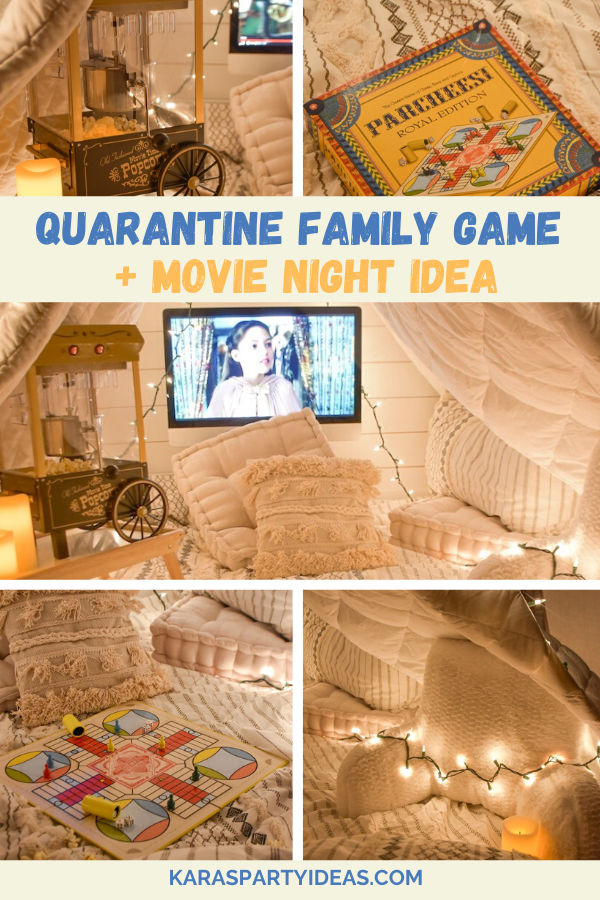 Quarantine Family Game + Movie Night Idea via Kara's Party Ideas - KarasPartyIdeas.com