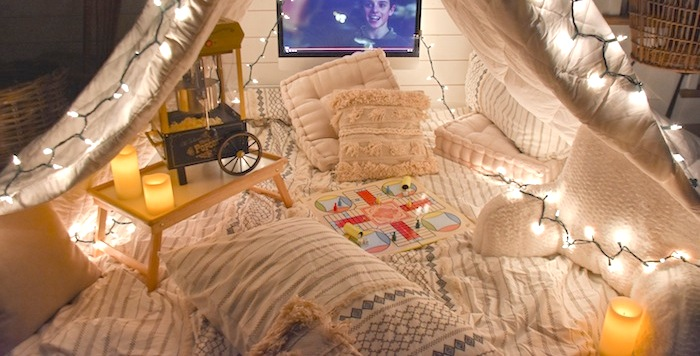 Quarantine Ideas Bed Bath Beyond Family Game Movie Night Fort Tent- Kara's Party Ideas-21