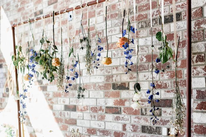 Floral Backdrop from a Rustic Vintage Blueberry Baby Shower on Kara's Party Ideas | KarasPartyIdeas.com (19)