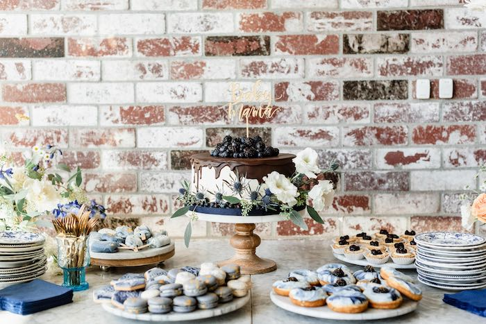 Dessert Table from a Rustic Vintage Blueberry Baby Shower on Kara's Party Ideas | KarasPartyIdeas.com (18)