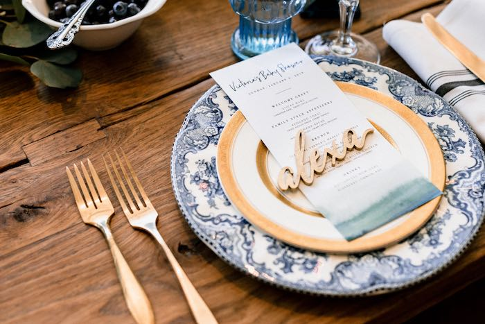 Custom Table Setting from a Rustic Vintage Blueberry Baby Shower on Kara's Party Ideas | KarasPartyIdeas.com (13)