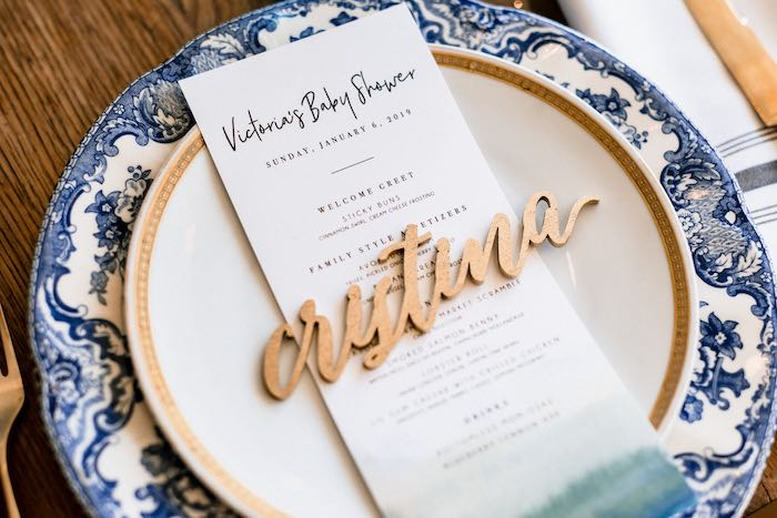Custom Table Setting from a Rustic Vintage Blueberry Baby Shower on Kara's Party Ideas | KarasPartyIdeas.com (12)