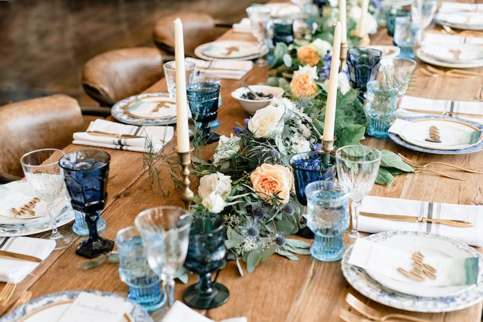 Dining Tablescape from a Rustic Vintage Blueberry Baby Shower on Kara's Party Ideas | KarasPartyIdeas.com (11)