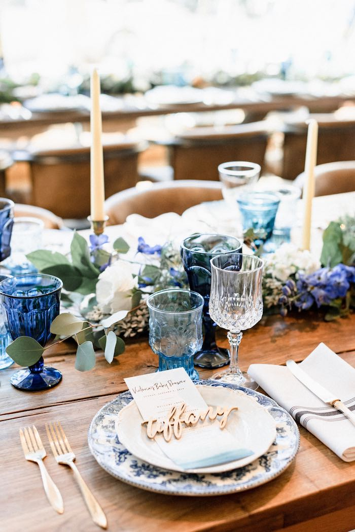 Custom Table Setting from a Rustic Vintage Blueberry Baby Shower on Kara's Party Ideas | KarasPartyIdeas.com (29)