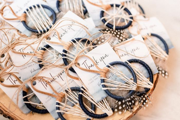 Dreamcatcher Favors from a Rustic Vintage Blueberry Baby Shower on Kara's Party Ideas | KarasPartyIdeas.com (7)